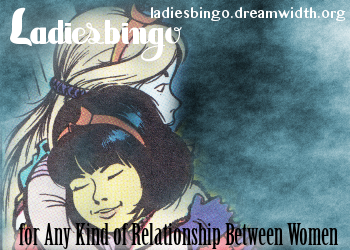 An Image of Yoko Tsuno and Khani hugging from the Yoko Tsuno albums.  It has the words Ladiesbingo, for Any Kind of Relationship between Women and the url ladiesbingo.dreamwidth.org superimposed over it
