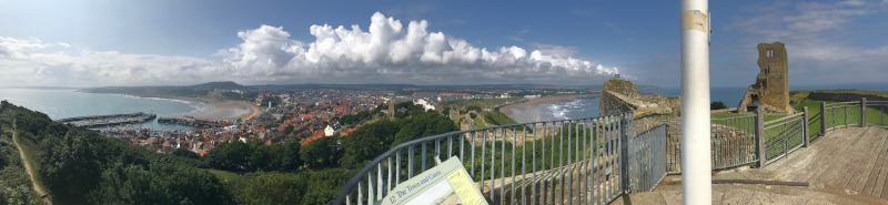 Panoramic view of Scarborough from the wall around the castle.  Since Scarborough Castle is on a headland you can see both South Bay and North Bay.