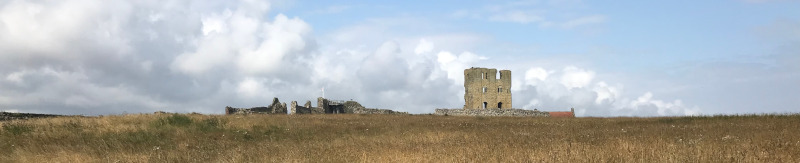 The ruins of Scarborough Castle from across the yellowing grass of the headland.