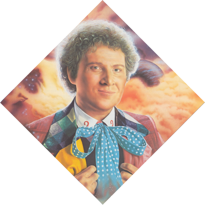 Diamond shaped Andrew Skilleter painting of the Sixth Doctor's head and shoulders, holding his lapels, against a backdrop of orange clouds and planets.
