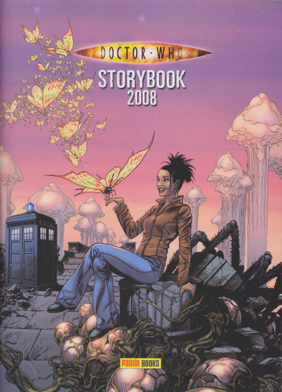 Drawing of Martha sitting on some kind of abandoned tech/eggs/spider/vines/cables contraption with a large multi-coloured butterfly (first of a flock) is landing on her finger.  Tall mushroomy things are visible in the background against a pink sky.