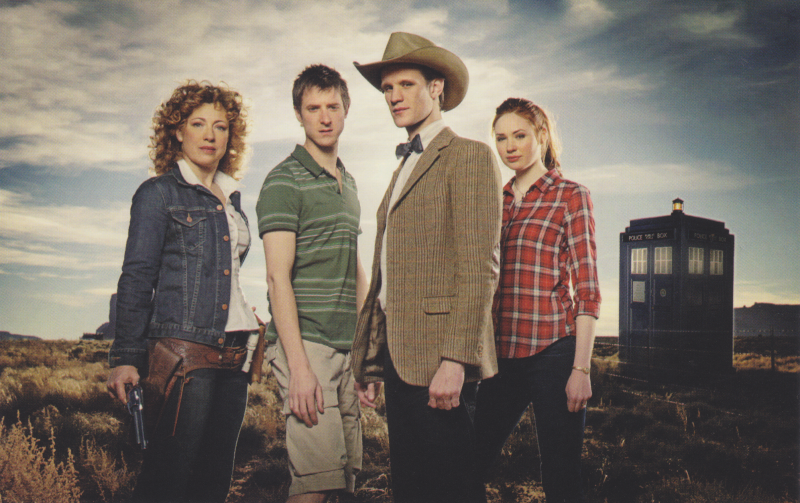 Publicity pic for The Impossible Astronaut/Day of the Moon.  The Eleventh Doctor, Amy, Rory and River: Eleven is in his cowboy hat.