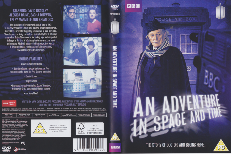 DVD Cover.  The main image is David Bradley as William Hartnell as Dr Who in front of the Tardis with a 1960s BBC Camera pointed at him.  The back includes images of Sacha Dhawan and Jessica Raine as Waris Hussein and Verity Lambert, The Doctor and Susan at the Tardis console, and the Daleks on London Bridge.