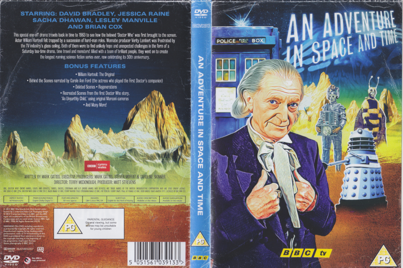 DVD Cover in the style of the 1965 Doctor Who Annual.  Painting of the David Bradley first Doctor in front of the Tardis with a Mondasian Cyberman, Dalek and Menoptera in the background against painted yellow mountains.  Mountains continue on back cover.
