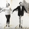 Ian and Barbara running through London 1965, hand in hand.  Slight colour wash a hint of handwritten text around their feet.