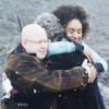 The Doctor, Bill and Nardole hugging from Twice Upon a Time.
