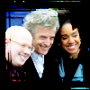 The Doctor, Bill and Nardole standing together - looks like a publicity shot.