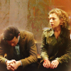 Eleven and River sitting on the stairs in the Angels take Manhattan.