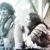 Fourth Doctor and Leela from black and white publicity still from Horror of Fang Rock.  Leela in a woolly jumper.  Slight colour wash.