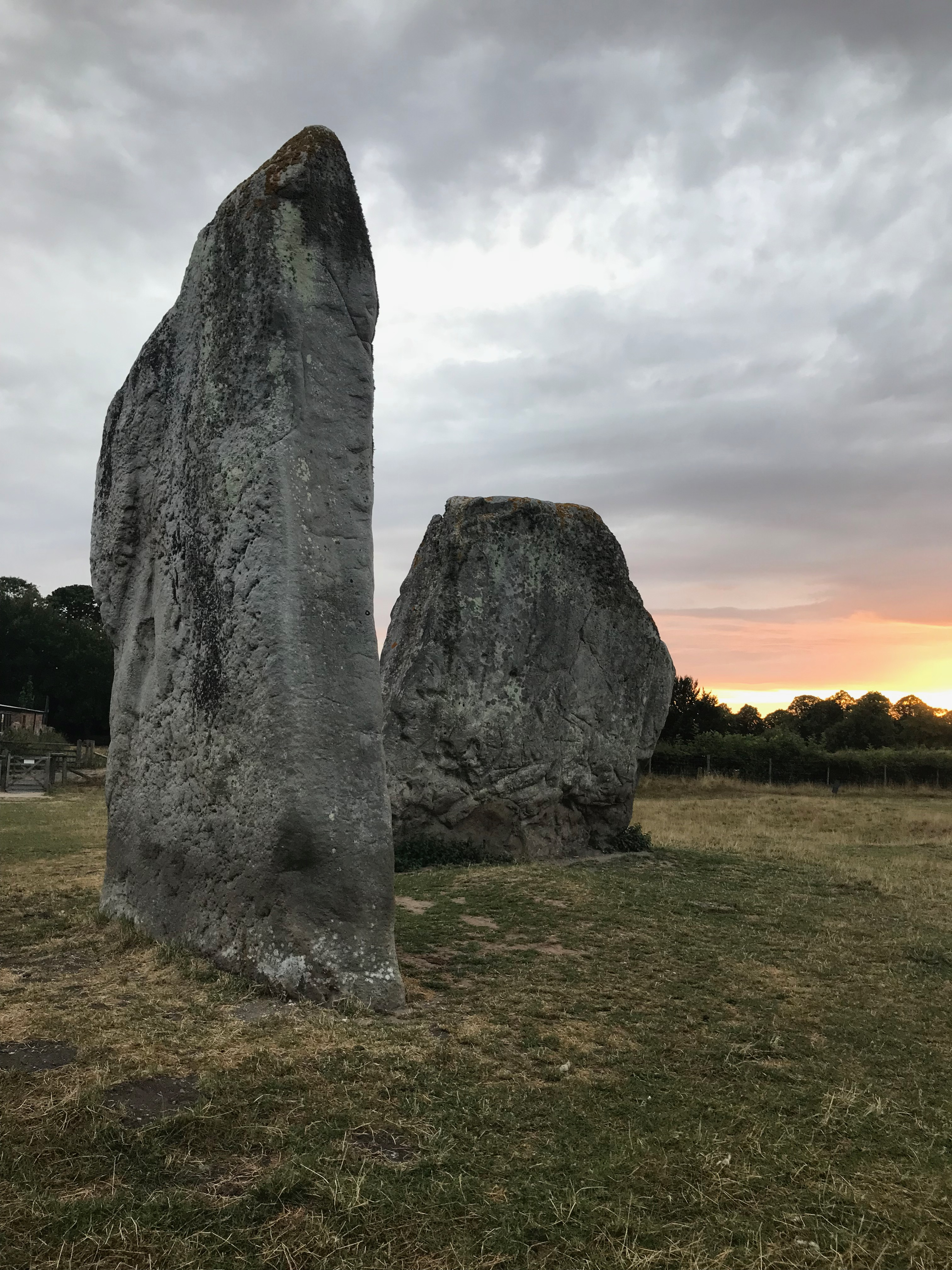 Two of the Avebury stones at Sunset.